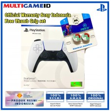 PS5 DualSense Wireless Controller (White) Free Thumb Grip FIFA GREEN